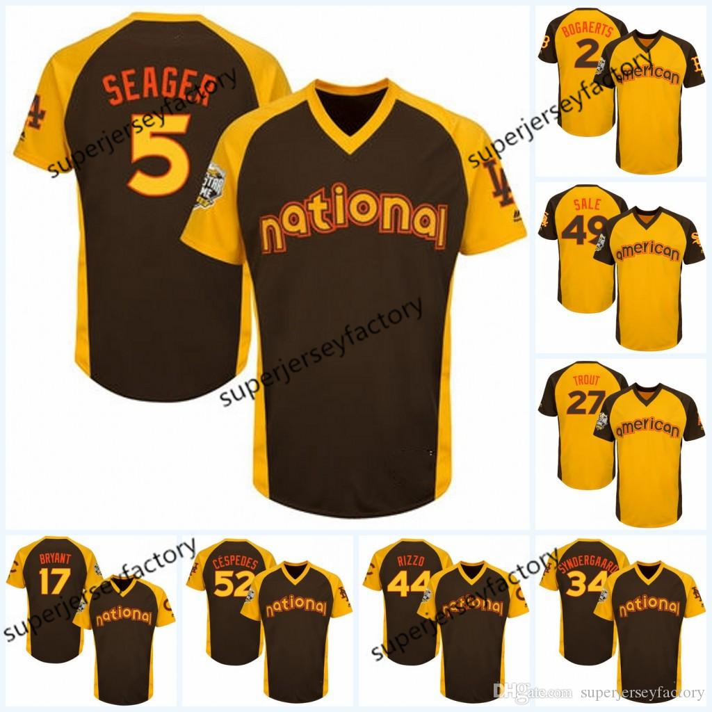 official photos 123ec 5eaab 2016 All-Star Jersey Men 5 Corey Seager 44 Anthony Rizzo 34 Noah  Syndergaard 52 Yoenis Cespedes Jersey 28 Buster Posey 34 Bryce Harper jerse