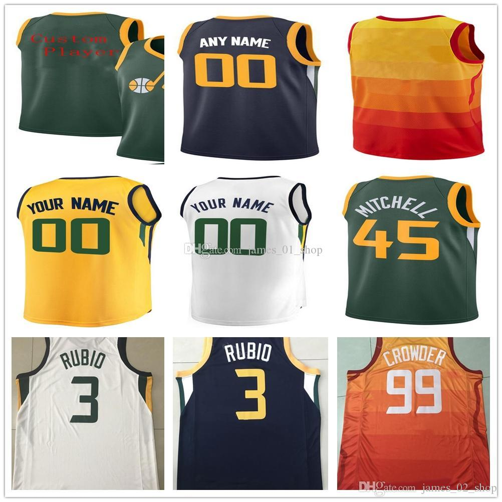 sale retailer 59742 217ba 2019 Print UtahJazz 27 RudyGobert Jersey Basketball 45 DonovanMitchell 3  RickyRubio 1 RodneyHood 99 JaeCrowder jerseys 2 JoeIngles shirts