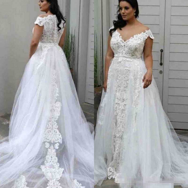 Discount Plus Size A Line Wedding Dresses Lace Deep V Neck Cap