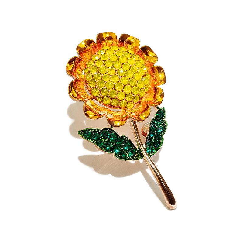 Fashion Crystal Flower Brooch Sunflower Brooches Enamel Sun Flower Plant Corsage Women Girls Dress Clothes Pins Party Jewelry