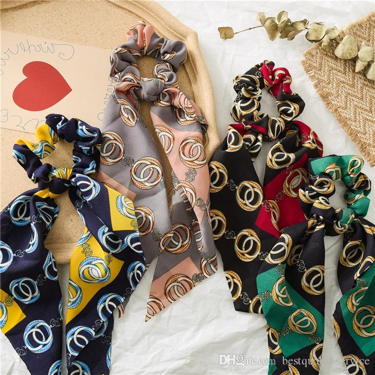 boutique Girls Bows hair Korean Fashion printed lace-up Bows elastic hairbands ponytail holder women headbands