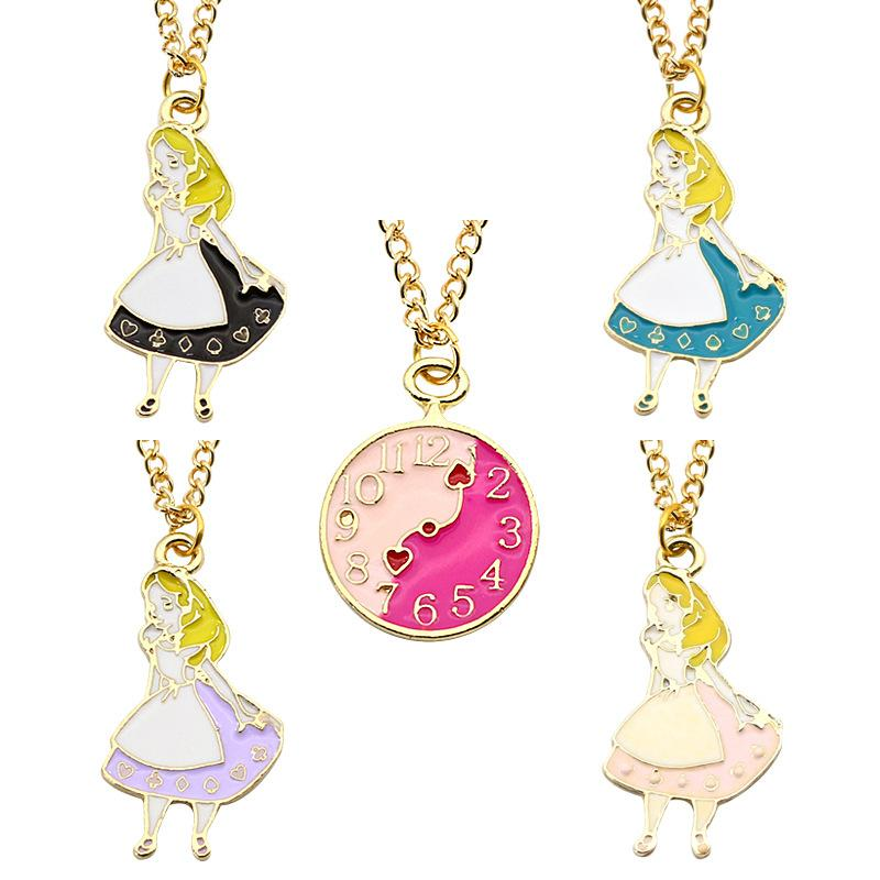 Alice in Wonderland necklace clocks beacutiful charm pendants necklace gift for her