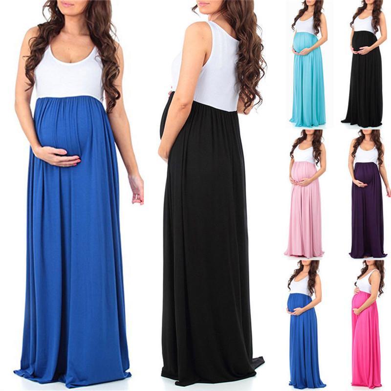 Femmes enceintes robe en mousseline de soie maternité Photographie Props longue grossesse Vêtements Robe sans manches patchwork longues Robes