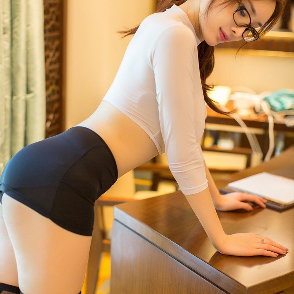 Mujeres sexy secretaria traje uniforme lencería top mini falda conjunto trajes eróticos Office Lady Cosplay