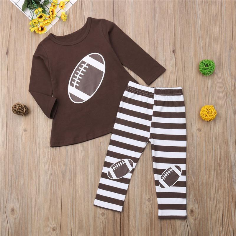 recém-nascido criança Baby Kids Clothes menina definição de impressão de algodão listrado mangas compridas T-shirt + calças infantil Roupa Treino Roupas