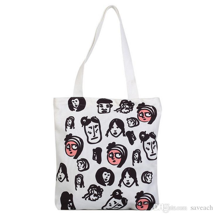 8540ecb43 2019 Cotton Shopping Bag Printing Canvas Shoulder Bags Womens Graffiti  Grocery Totes For Girl Fashion Handbag Casual Pouch From Saveach, $5.93 |  DHgate.Com