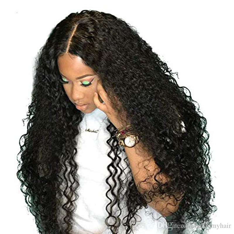 733b60849 Glueless Deep Wave Curly Lace Front Human Hair Wigs For Black Women 150  Density Brazilian Remy Human Hair Curl Wigs Natural Hairline Rpg Full Lace  Wigs Lace ...