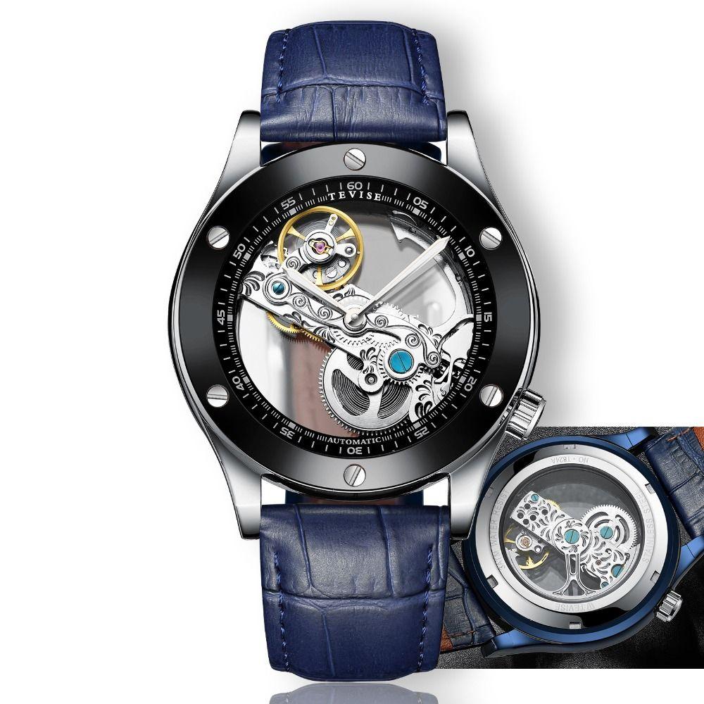 0e6ecaf5f4b Compre TEVISE Montre Homme Transparente Automático Relógio Homens Relógios  Mecânicos 2018 Moda Luminoso Impermeável Couro Relógio De Pulso De  Htiancai