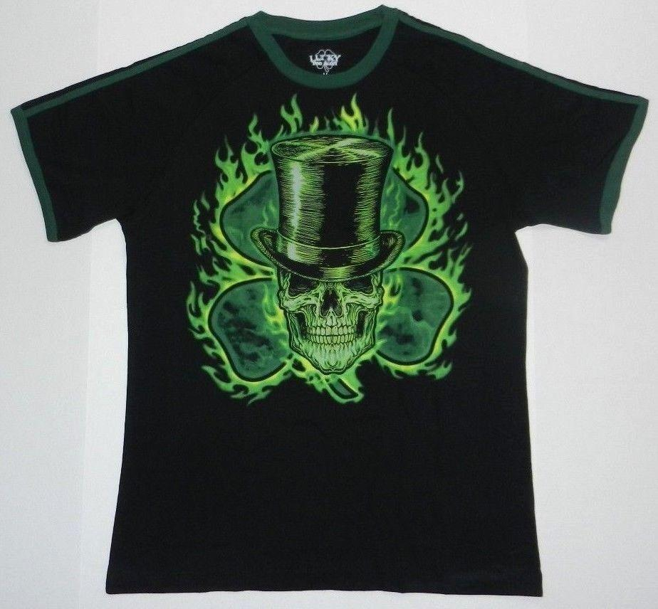 1b7345fa5 Shamrock Four Leaf Clover Irish Skull Neon Color St Patrick's Day Lucky T- shirt wholesale funny gift Short Sleeve Tops Round Neck
