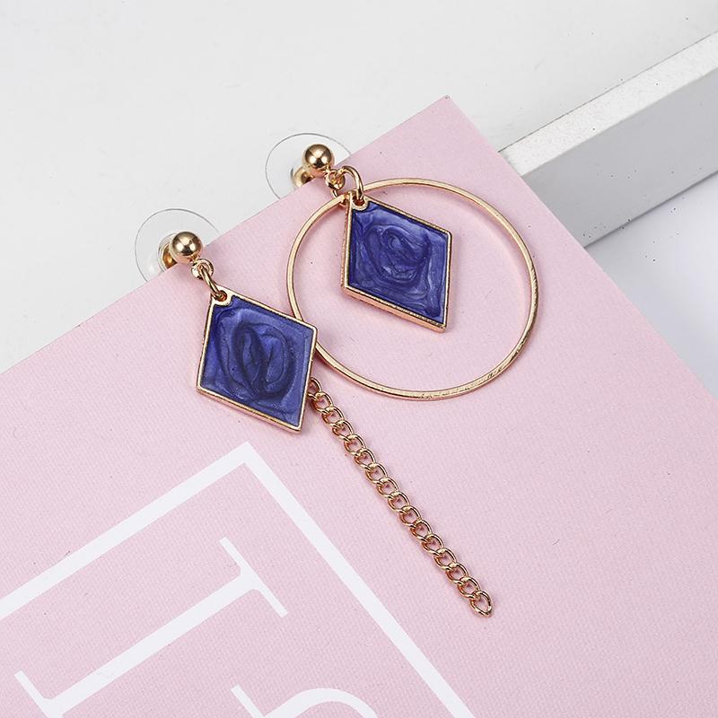 2018 New Hot ! Fashion Fine Jewelry Beautiful Gold Color Pierced Rhinestone asymmetric Square Stud Earrings For Women Gift e0340