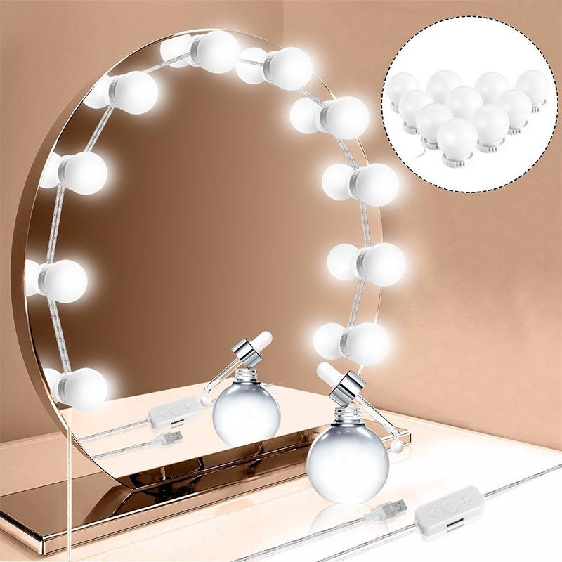 10 Led Bulbs Makeup Mirrors Light Vanity LED Light Bulbs Cosmetic Make Up Mirrors Bulb Adjustable Brightness Beauty Mirror USB Large Magnifying Glass Makeup ...