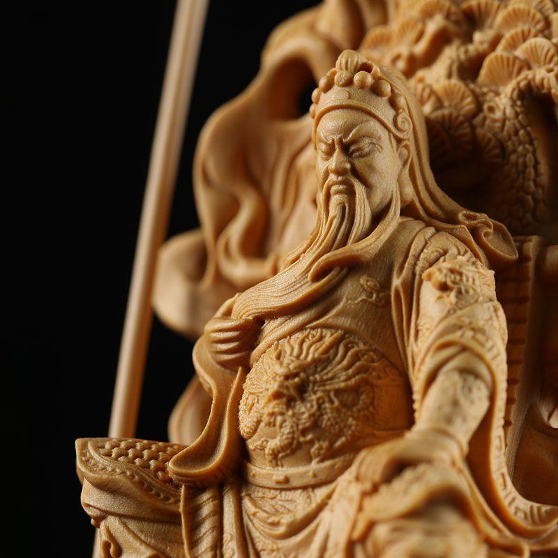 Wood guanyu chinese mars figures wood decoration feng shui wood