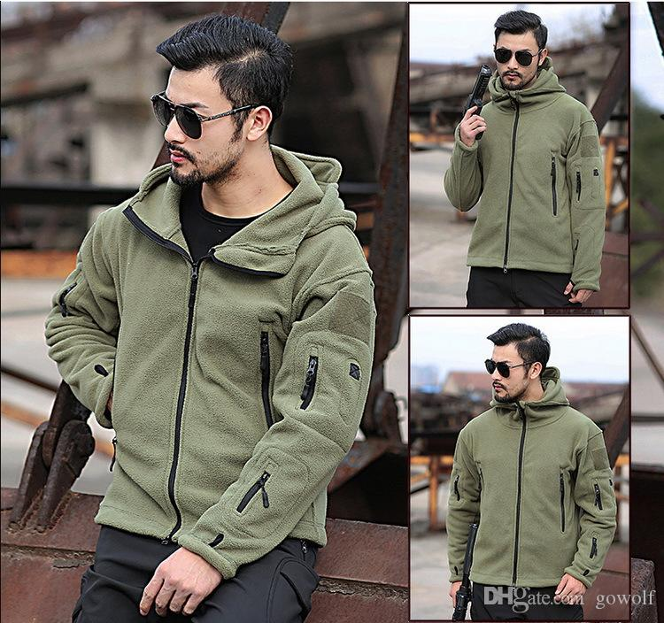 64c82957c8 2019 Military Jacket Men Tactical Softshell Jacket Army Thermal Polar  Fleece Coat Uniform Casual Hooded Hunt Work Clothes From Gowolf