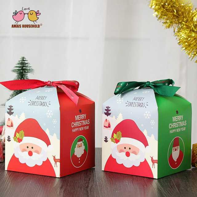 50pcs / lot Cute Square Merry Christmas Theme Party Gift Candy Packaing Box Wholesale 12 * 12 * 12cm