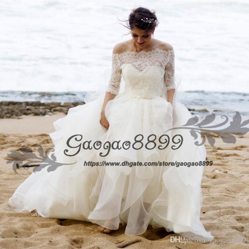 106041ca2eb Discount 2019 Ruffles Organza Beach Wedding Dresses With Jacket Modest  Tiered Skirt Two Pieces Lace Up Corset Plus Size Country Bridal Wedding  Gowns Tea ...