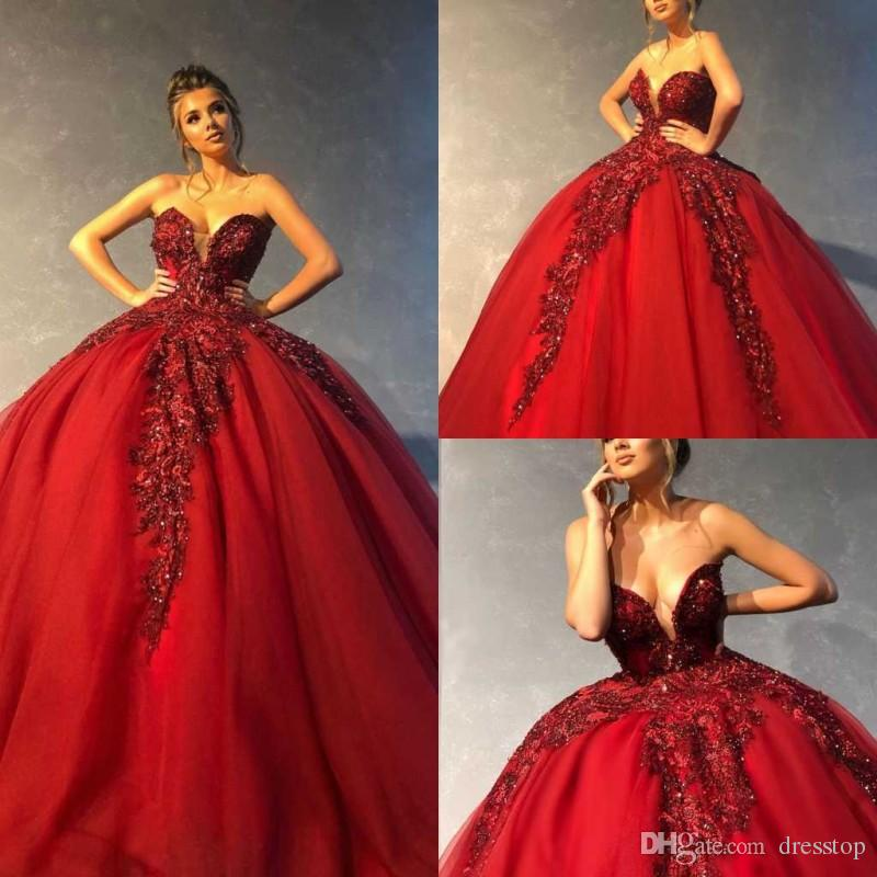 232410c6b4 2019 Red Ball Gown Quinceanera Dresses Sweetheart Lace Appliqued Prom Gowns  Sequins Puffy Tulle Sweet 16 Dress Formal Evening Dress