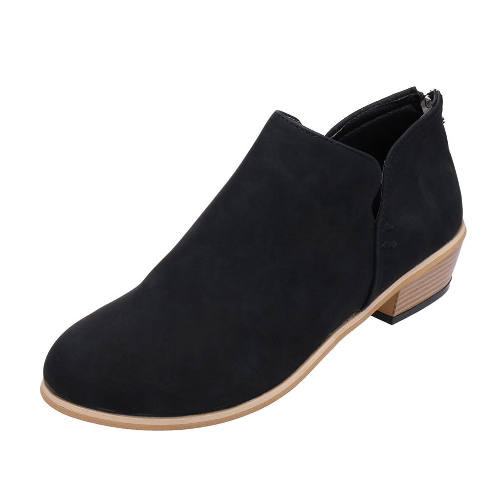 nuevo estilo 198b3 64019 Diseñador de zapatos de vestir para mujer Damas Otoño Moda Tobillo Cuero  sólido Martin Botas cortas Dropshipping 0919 #