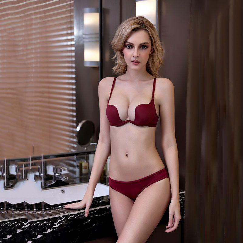b096089bb5023 2019 Women Deep U Shape Low Cut Bra Set Push Up Underwear Plung Sexy  Backless Halt Convertiable Adjustable Strap Lingerie W1701 From Yimys