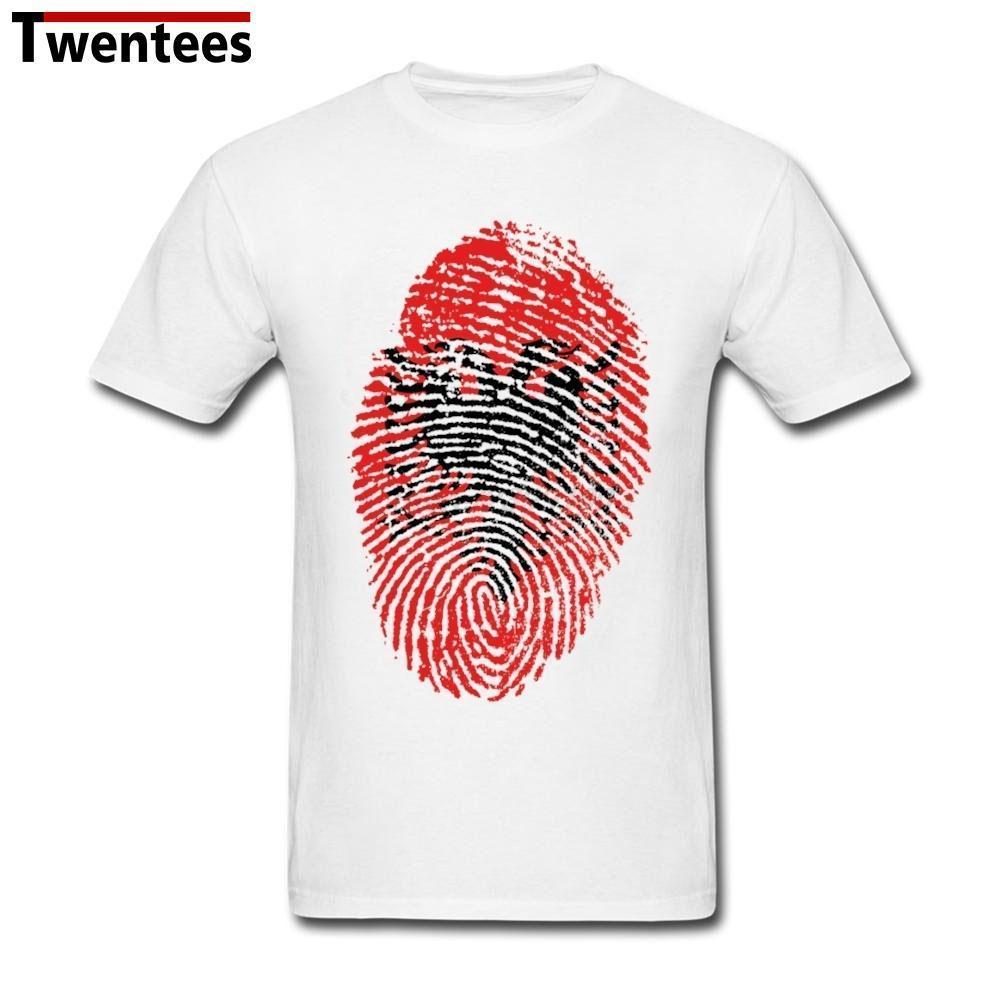 1d3e636b785717 Großhandel Mens Designer T Shirts Shirt Freizeit Kurzarm Bio Baumwolle  Albanien Flagge Fingerprint Männer T Shirt Mode 3XL T Shirt Baumwolle Von  Boot45