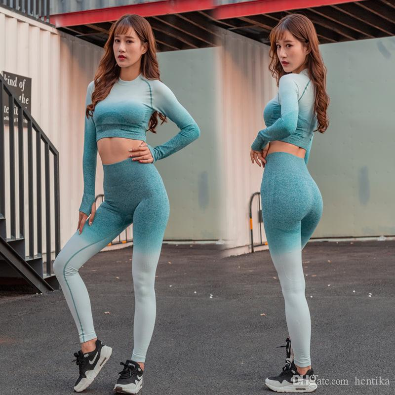 1246dbdbc92 2019 Fashion Fitness Clothing Sports Gym Crop Top Sexy Seamless Long Sleeve  Top Yoga Shirts For Women From Hentika, $24.78 | DHgate.Com