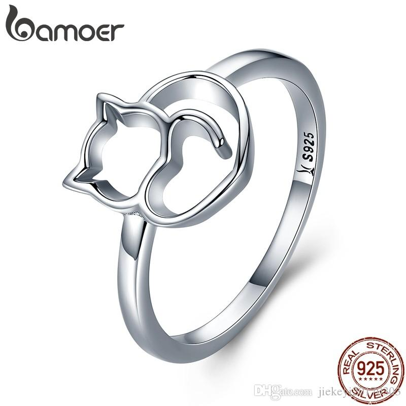 BAMOER Authentic 100% 925 Sterling Silver Naughty Little Cat   Heart Finger  Ring for Women Sterling Silver Jewelry Gift SCR104 557274fd5241
