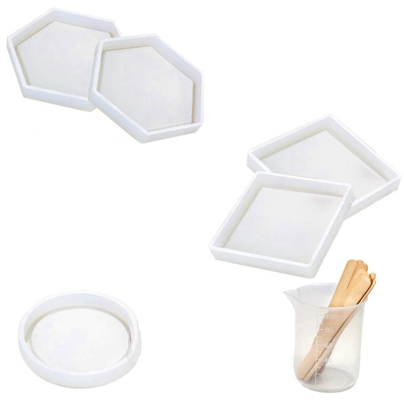 5 Pcs Diy Silicone Coaster Resin Molds Epoxy Casting Including Round  Hexagon And Square Mold For Resin Concrete Cement Home De