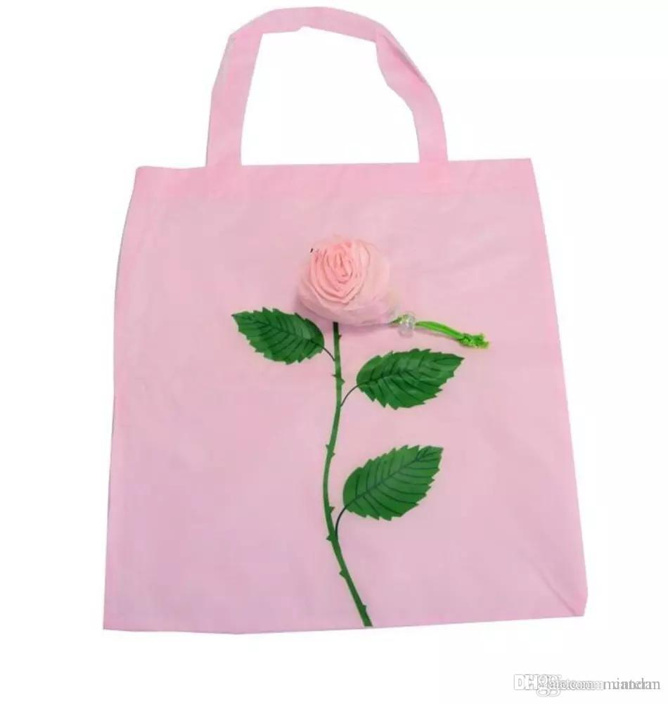 Bags Recycle Travel Flowers Rose Shopping Grocery Foldable Bag Tote 9HWED2IY