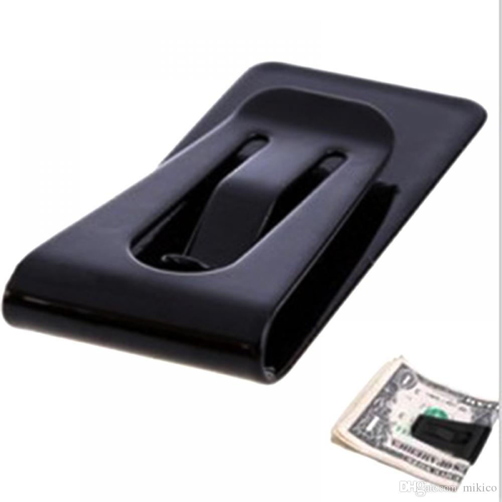High Quality Stainless Steel Metal Money Clip Fashion Simple Black Dollar Cash Clamp Holder Wallet for Men Women Unisex