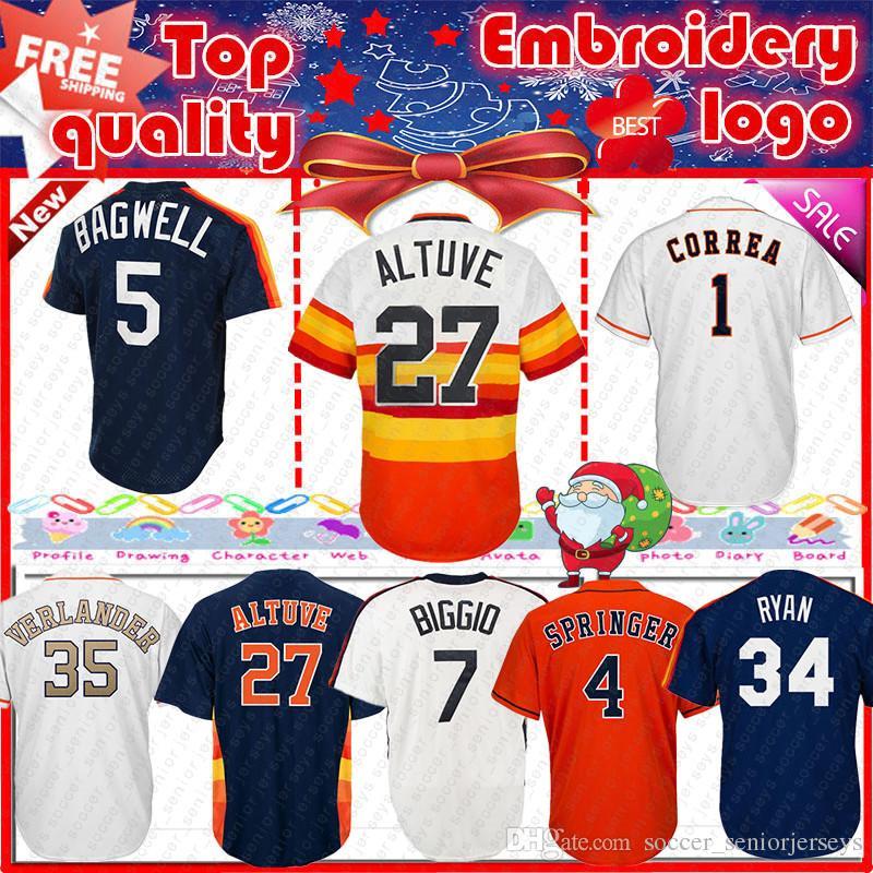 newest collection be8a4 3e2c6 Houston Astros baseball jersey 27 Jose Altuve 4 George Springer 35 Justin  Verlander Men base jerseys 2019 new