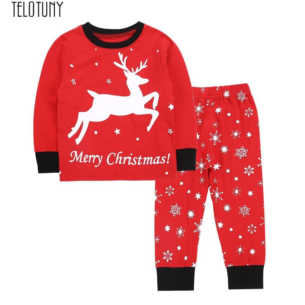 362d3175d TELOTUNY Outfit Toddler Kids Baby Boys Girls Cartoon Christmas Pajamas Tops  Pants Outfits Set Baby Clothing Fashion New NOV17