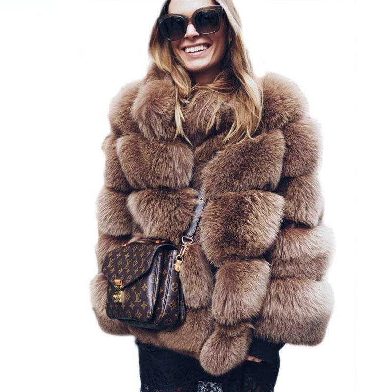 771655b525 2019 2018 New Winter Coat Women Faux Fox Fur Coat Plus Size Women Stand  Collar Long Sleeve Faux Fur Jacket Gilet Fourrure From Chencloth66, $60.06  | DHgate.