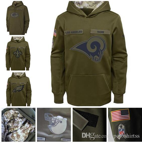 Kadınlar Gençlik Orleans Angeles Philadelphia Green Bay 2018 Sideline Therma Performans Kazak Hoodie eagles - Olive
