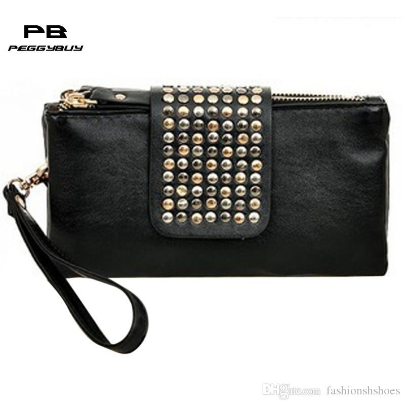 849522225f Women Leather Handbag Fashion Rivet Stud Long Day Clutch Bag For Lady Black  Female Party Evening Tote Purse Pouch Bolso Mujer  274834 Discount Designer  ...