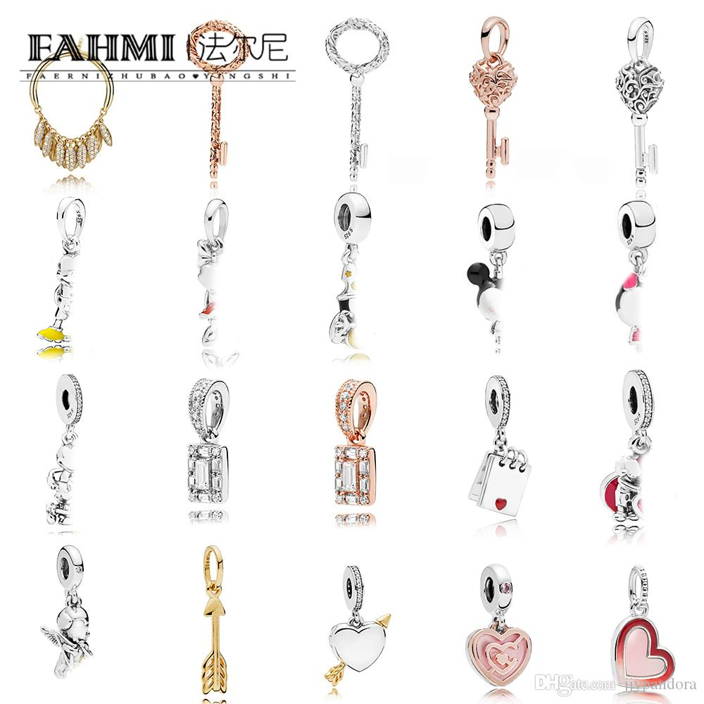 FAHMI 100% 925 Sterling Silver Rose Luminous Ice KEY Arrow of Cupid Hanging Charm ASYMMETRIC HEART SHINE CIRCLE OF SEEDS Pendant