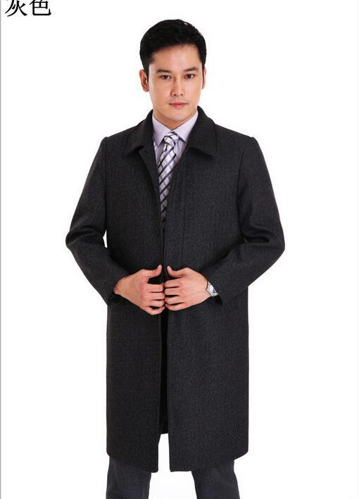 overcoat overcoat for men Autumn and winter fashion wool coat lapel middle-aged men's coat longer section Free shipping
