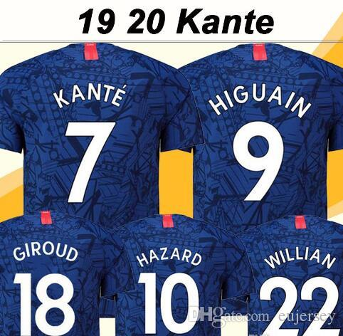 new styles 01316 6460e 19 20 KANTE Soccer Jersey HIGUAIN HAZARD PEDRO MORATA GIROUD WILLIAN  FABREGAS JORGINHO Men Football Shirt New Blue Short Sleeve Uniform