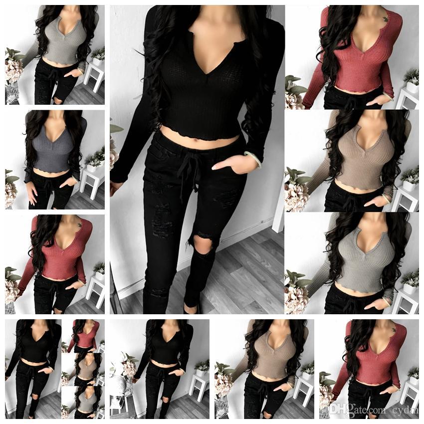 2298621f7d European Fashion Solid Color Sleeve Long-sleeved V-neck Umbilical T-shirt  Black