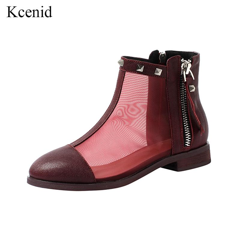 cb650ac5b9 Kcenid 2019 Fashion summer boots women breathable mesh shoes fashion rivets  real leather women's boots ladies ankle botas black