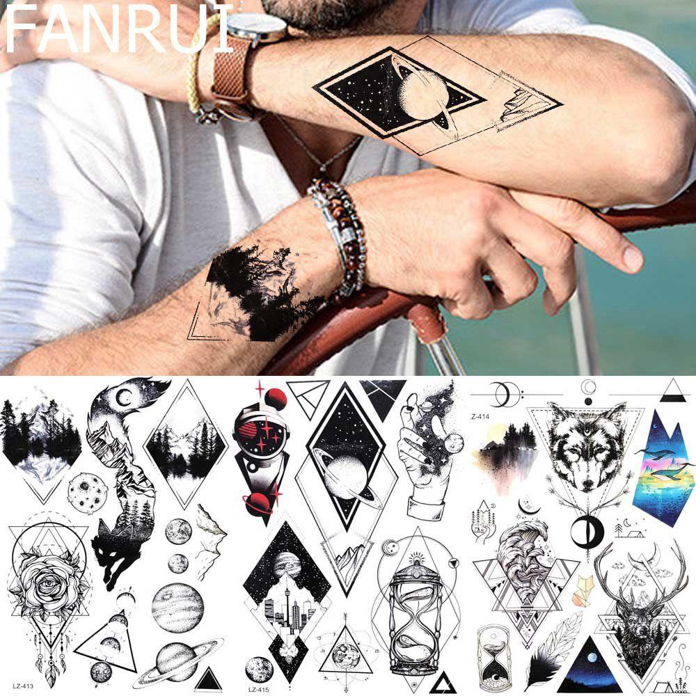 88b9adc0d FANRUI Triangle Moon Men Arm Tattoo Stickers Women Beauty Black Temporay  Tattoo Hands Deer Totem Planet Tatoos Waterproof Make Own Tattoo Make  Temporary ...