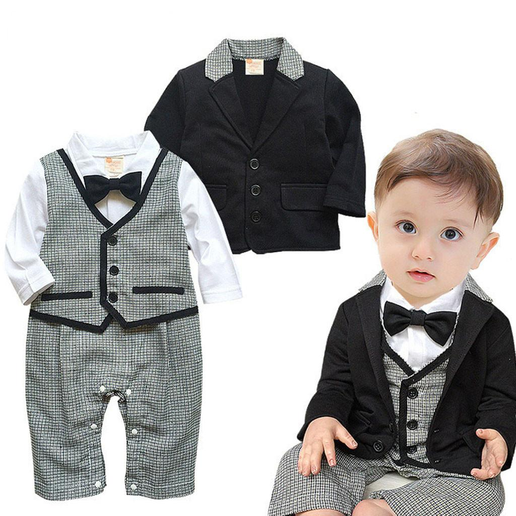 c35b4f2e2 2019 Toddler Baby Boy Clothes Children Sets Gentleman Bowtie Shirts+ ...