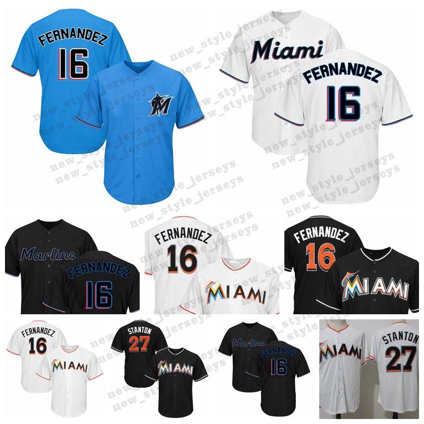 half off 45fe0 e70b4 2019 New Miami Men Marlins 16 Jose Fernandez 27 Giancarlo Stanton 22  Christian Yelich Baseball Jerseys 13 Starlin Castro