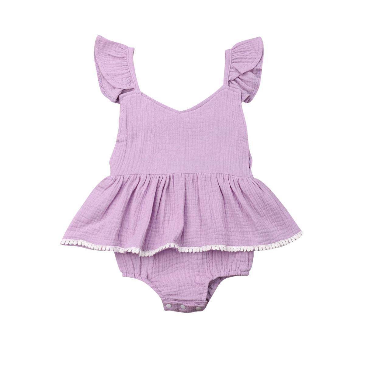 2020 verano recién nacidos Baby Body ropa sin mangas infantil del niño sólido ocasional vestido lindo del mono de Trajes