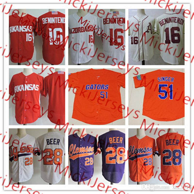 outlet store 8b2be f40be 2019 Mens NCAA  16 Andrew Benintendi Arkansas Razorbacks Baseball Jersey  Stitched Purple White Orange  h Beer Clemson Tigers Jersey S 3X From  Xt23518, ...