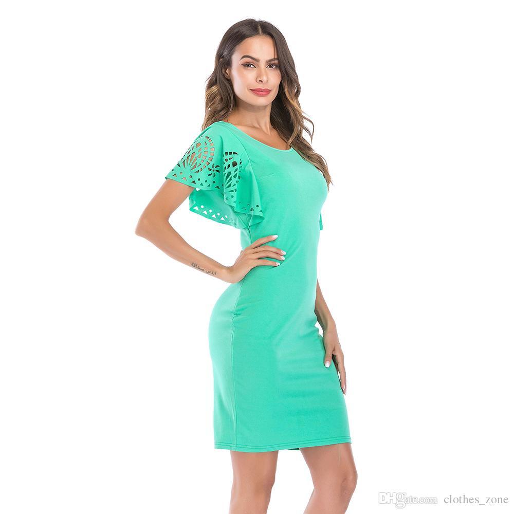 2a138181c238 Bodycon Mini vestidos para mujeres cuello redondo verde básico Hallow Out  Flare manga cena cena del partido del Club de verano vestido 8933