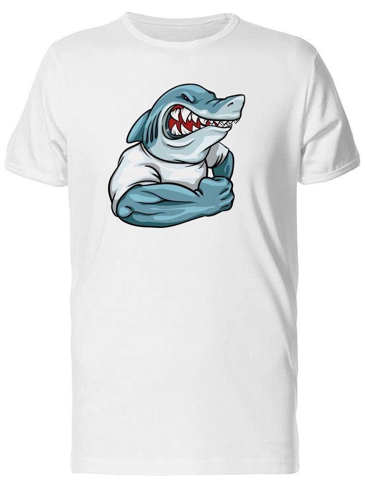 a94e4fc3f Strong Cartoon Shark In A Shirt Men s Tee -Image by Shutterstock ...