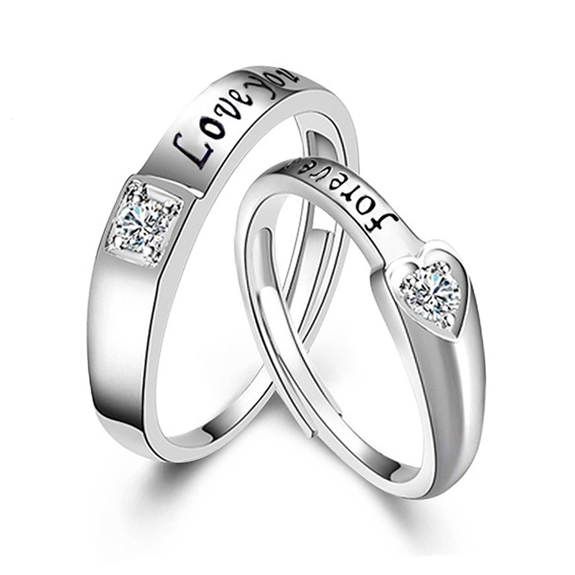 47b9c4c47 2019 One Couple Silver Ring Plated Platinum Pair Of Men And Women Korean  Fashion Opening Wedding Ring Creative Jewelry From Wzflove, $7.04    DHgate.Com