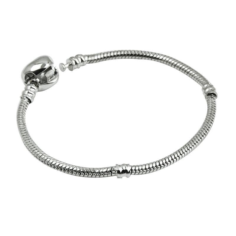 e16c5dcf8 2019 New Stainless Steel Love Heart Charm Bracelets Fit Pandora Women  Silver Plated Snake Chain Girls Designer Fashion Bracelets Photo Charms For  Bracelets ...