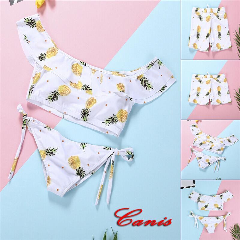 2019 nueva familia Matching Hombres Mujeres Niños muchachas del muchacho del traje de baño Bikini de piña Imprimir con cordones de cultivos bragas traje de baño traje de baño