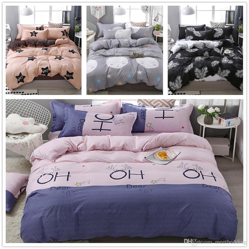 European Style Bedding Set King Twin Queen Size Pink Lovely Flowers Bed Cover Set 2/3pcs with Pillowcase of Bedspreads