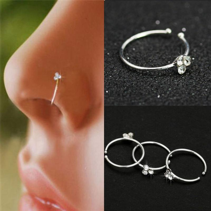 Nose Clip Copper Circular Nose Ring Circular Punk Small Thin Clear Rhinestone Flower Lip Ear on Fake Piercing Body Jewelry